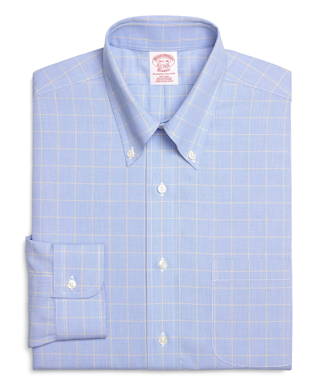 Brooks brothers non iron traditional fit houndstooth for Brooks brothers non iron shirts review