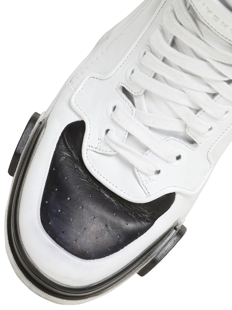 Givenchy Black White Woven Leather High Top Sneakers Shoes