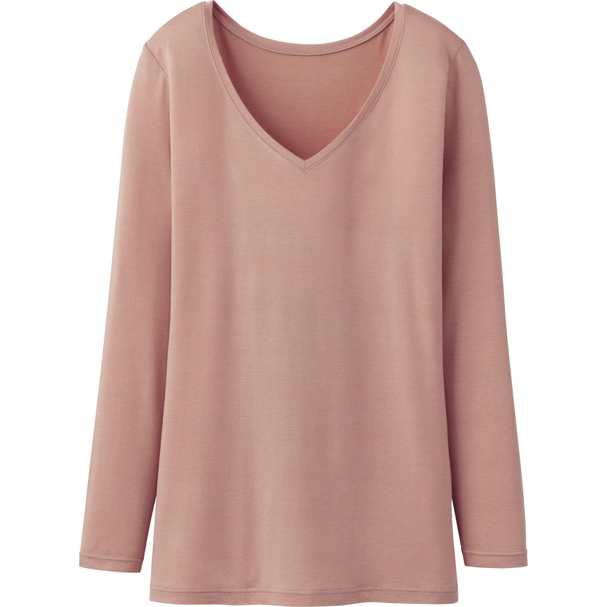 Uniqlo Women Heattech V Neck T Shirt Long Sleeve In Pink