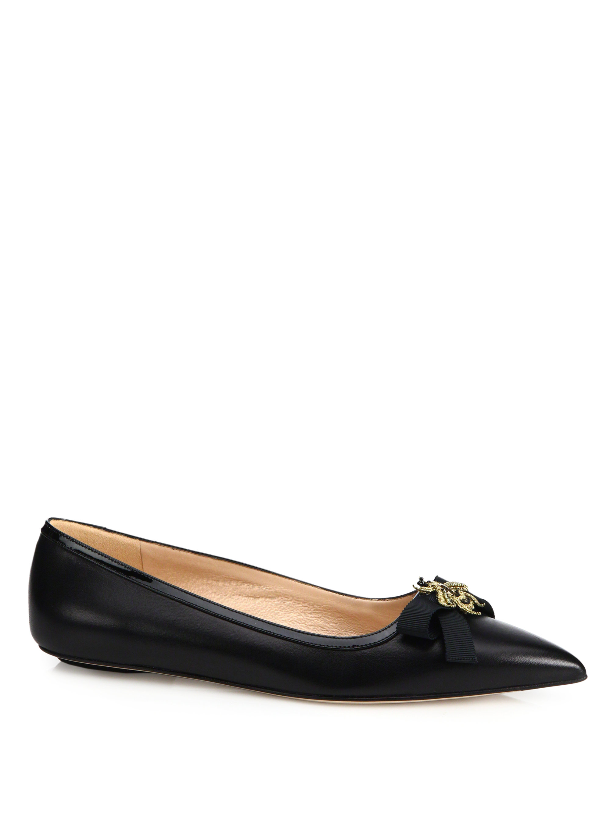 Lyst - Gucci Moody Bee Leather Ballet Flats in Black 6483a26cc