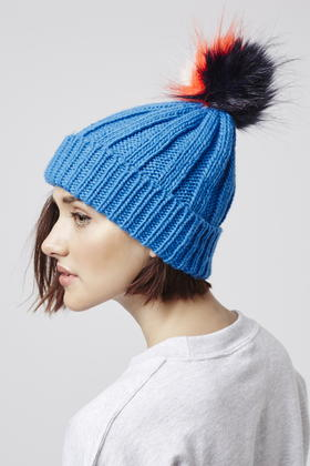 Lyst - TOPSHOP Multi-coloured Pom Beanie Hat in Blue 45757eb9874