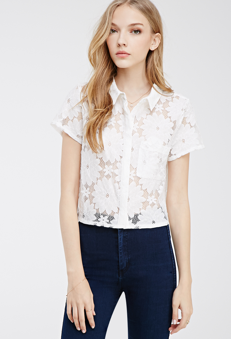 Forever 21 Collared Lace Shirt in White