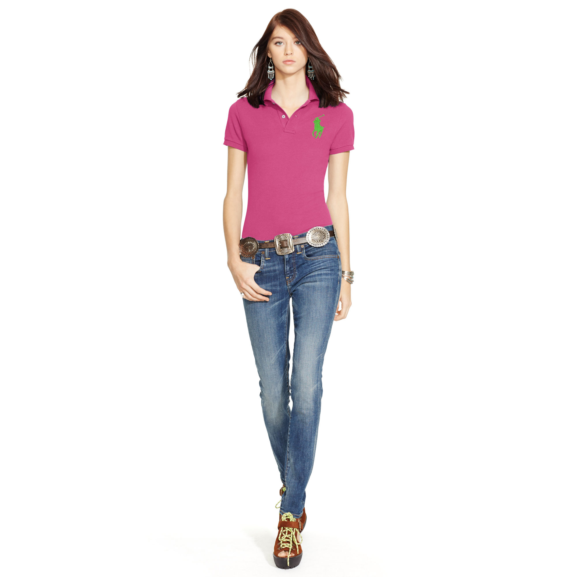 5c1e4ebf Polo Ralph Lauren Skinny-fit Big Pony Polo Shirt in Pink - Lyst
