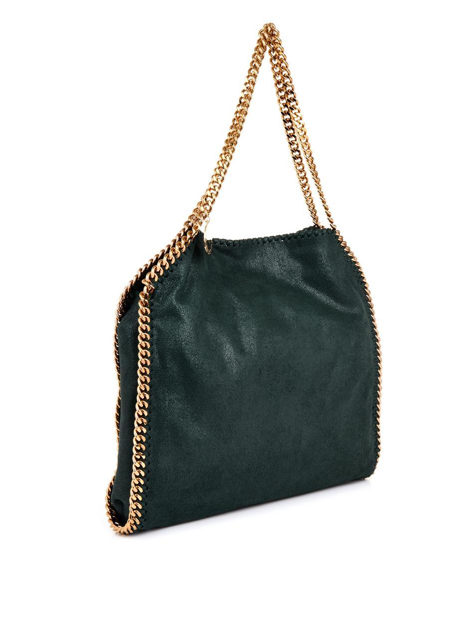 stella mccartney falabella small faux suede shoulder bag in green lyst. Black Bedroom Furniture Sets. Home Design Ideas