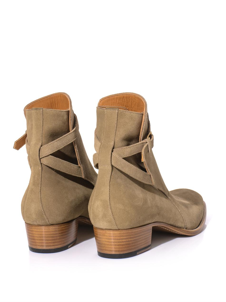 Saint Laurent Suede Wrap-Around Boots looking for cheap sale excellent Manchester EhasT