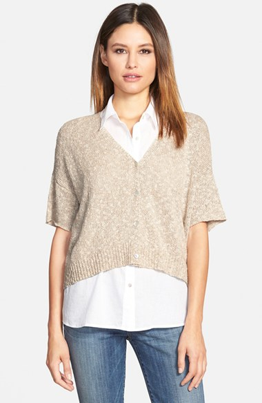 Eileen fisher Short Sleeve V-neck Cardigan in Natural | Lyst