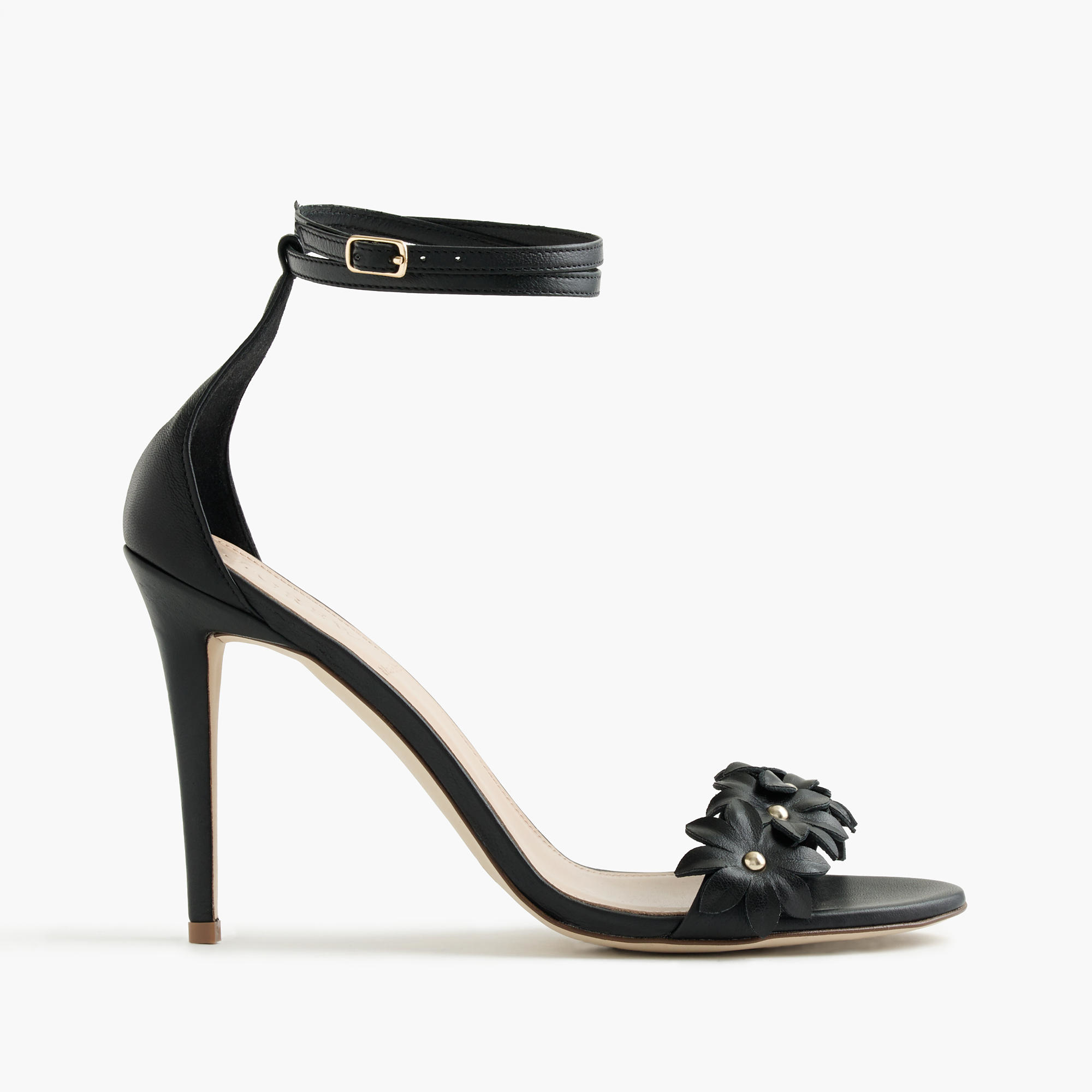 jcrew black leather flower high heel ankle strap sandals product 0 normal