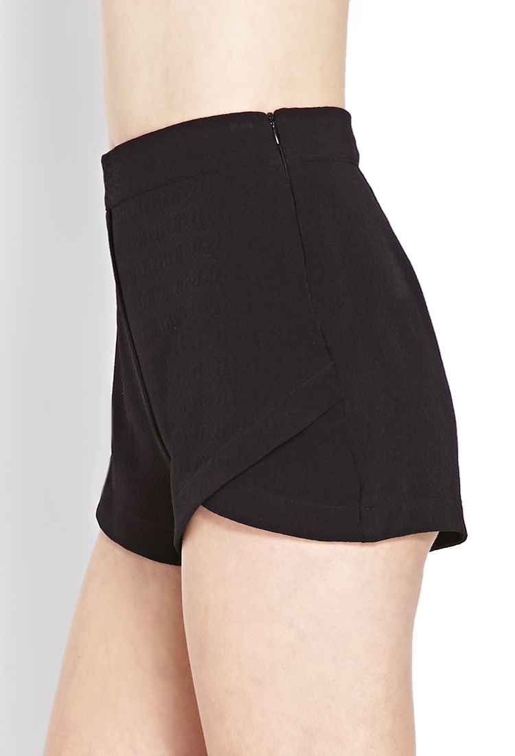 Lyst - Forever 21 Textured Origami Shorts in Black - photo#13