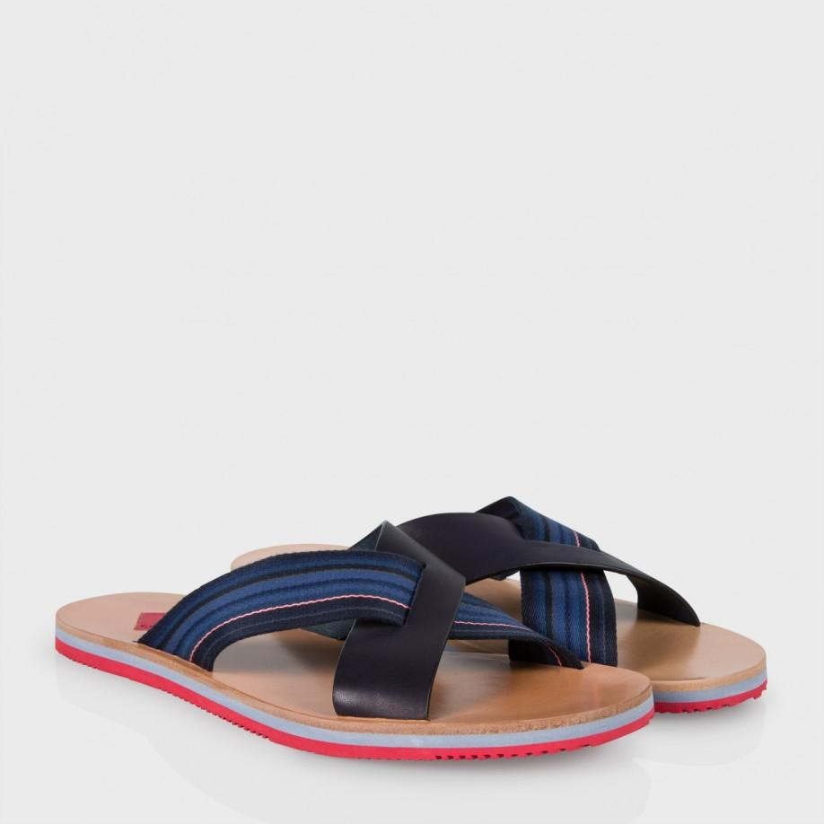 Mens Sandals Paul Smith Kohoutek Cross Sandals Navy Sandals Factory Outlet
