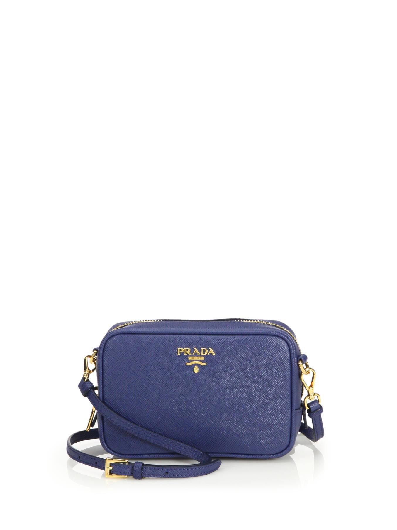 Prada Saffiano Leather Camera Bag in Blue | Lyst