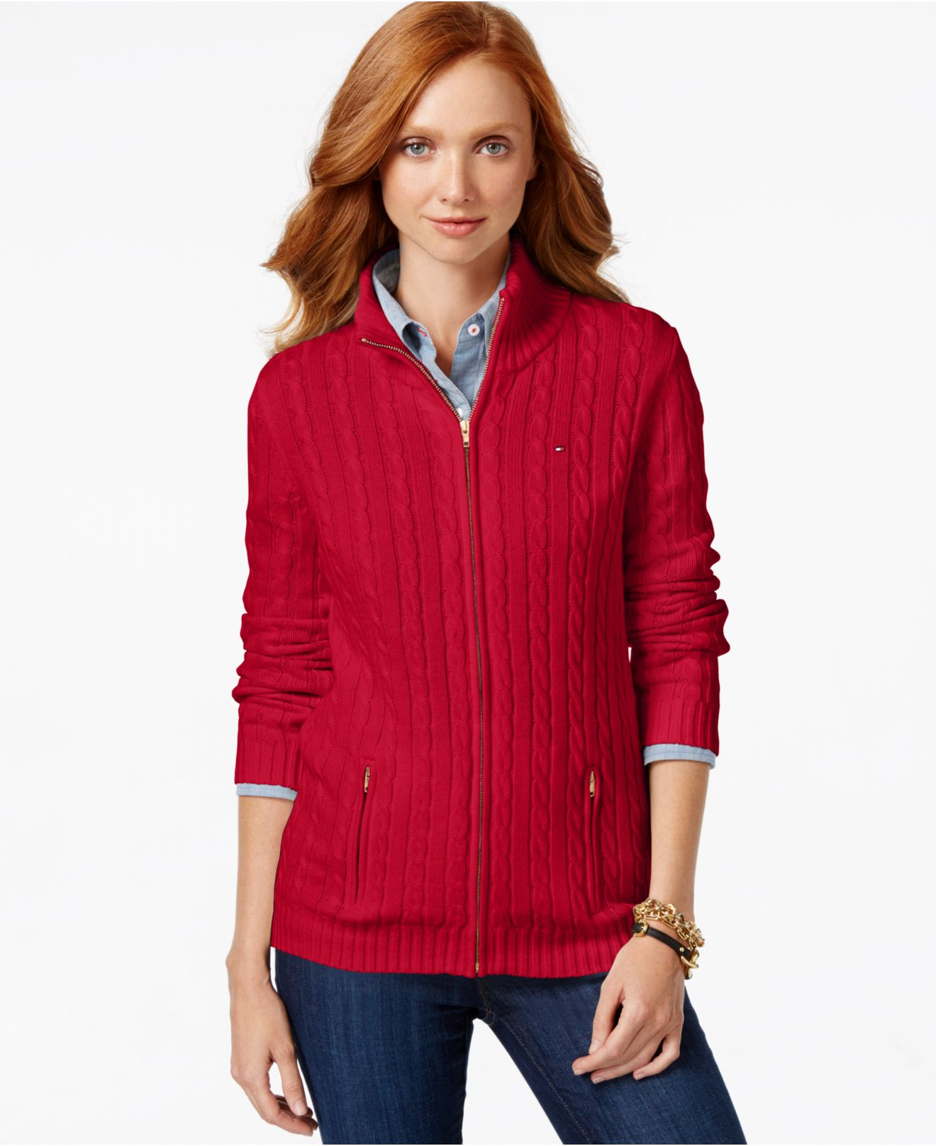 Tommy hilfiger Cable-knit Zip Front Sweater in Red | Lyst