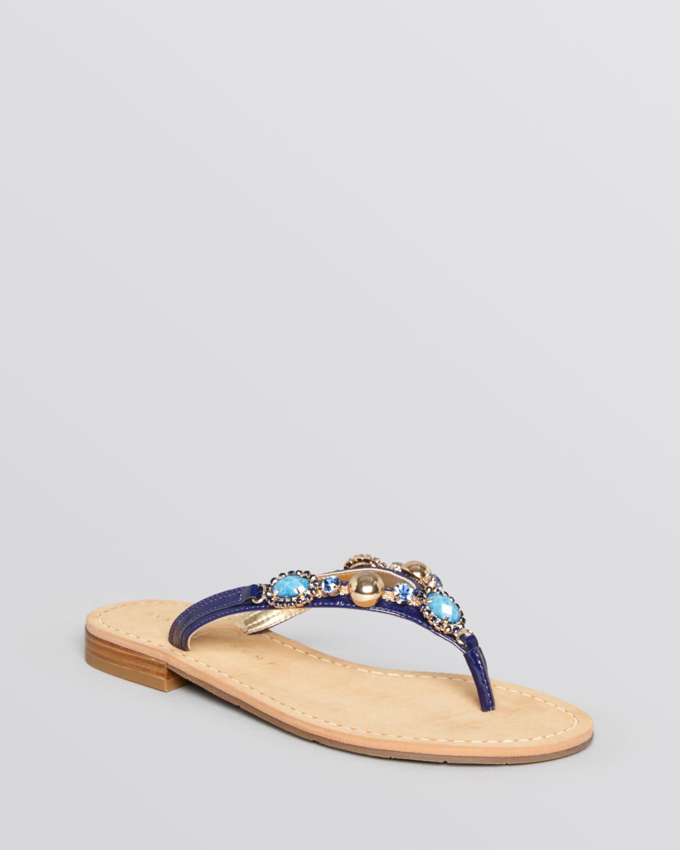 2abc3a149 Lyst - Ivanka Trump Flat Thong Sandals Jeweled in Blue
