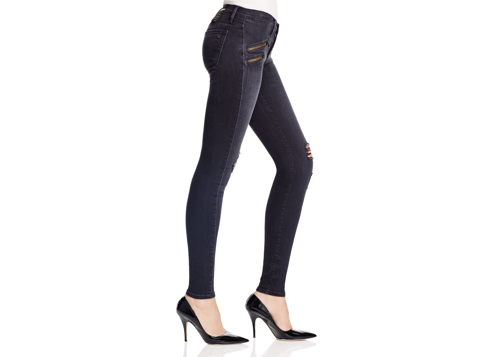 Black orchid Destructed Billie Zipper Skinny Jeans In Black Rock ...