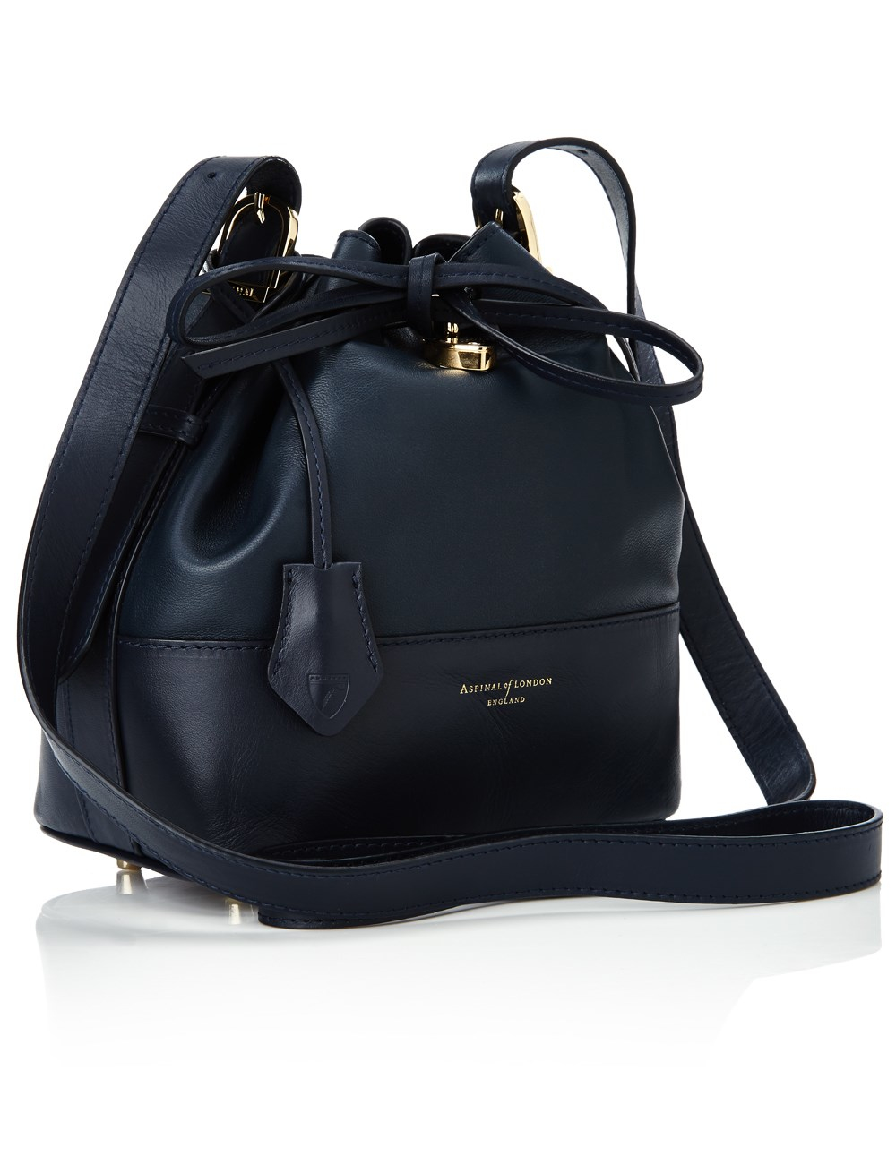 Aspinal Navy Leather Drawstring Bucket Bag in Blue | Lyst