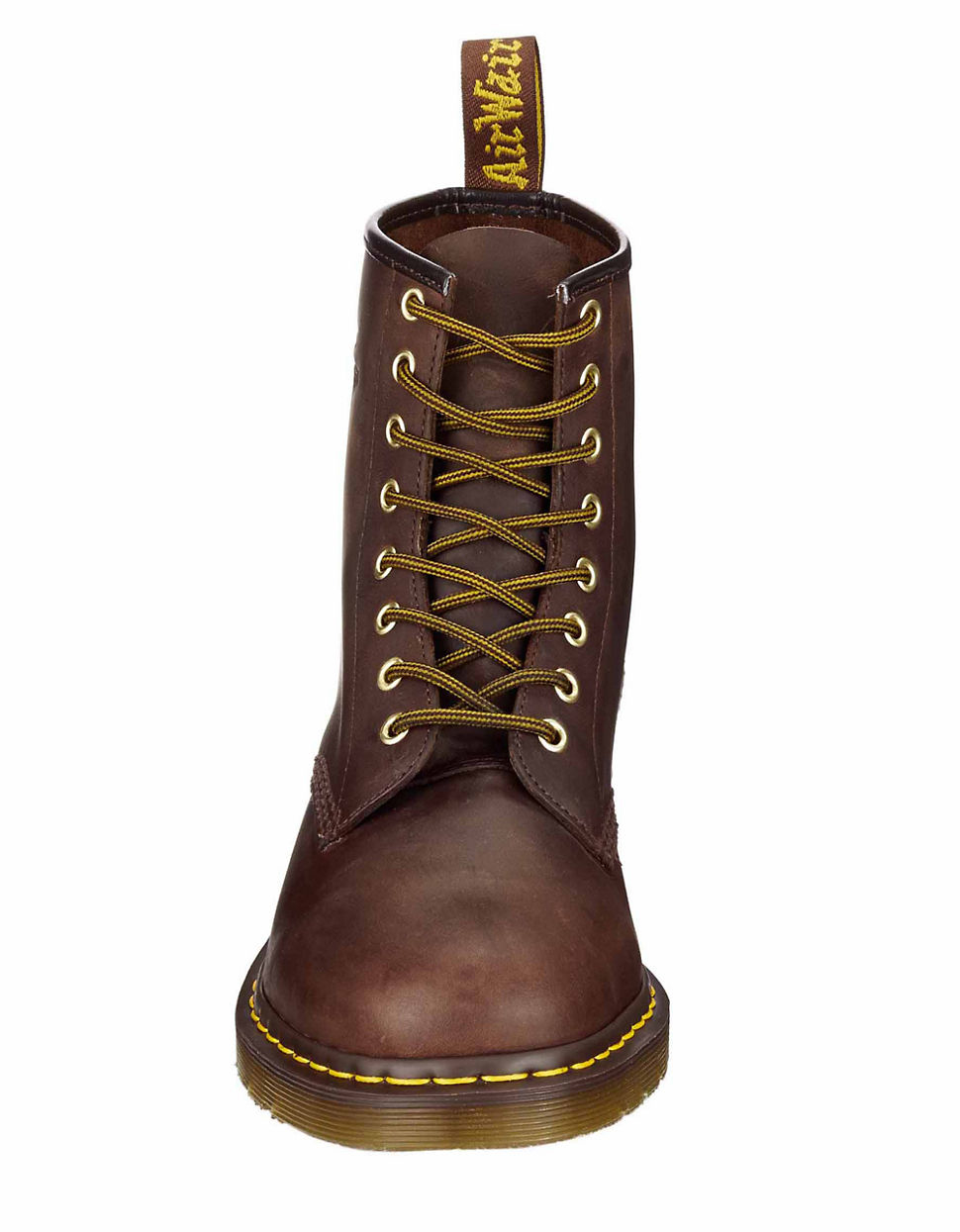 dr martens distressed leather combat boots in brown for
