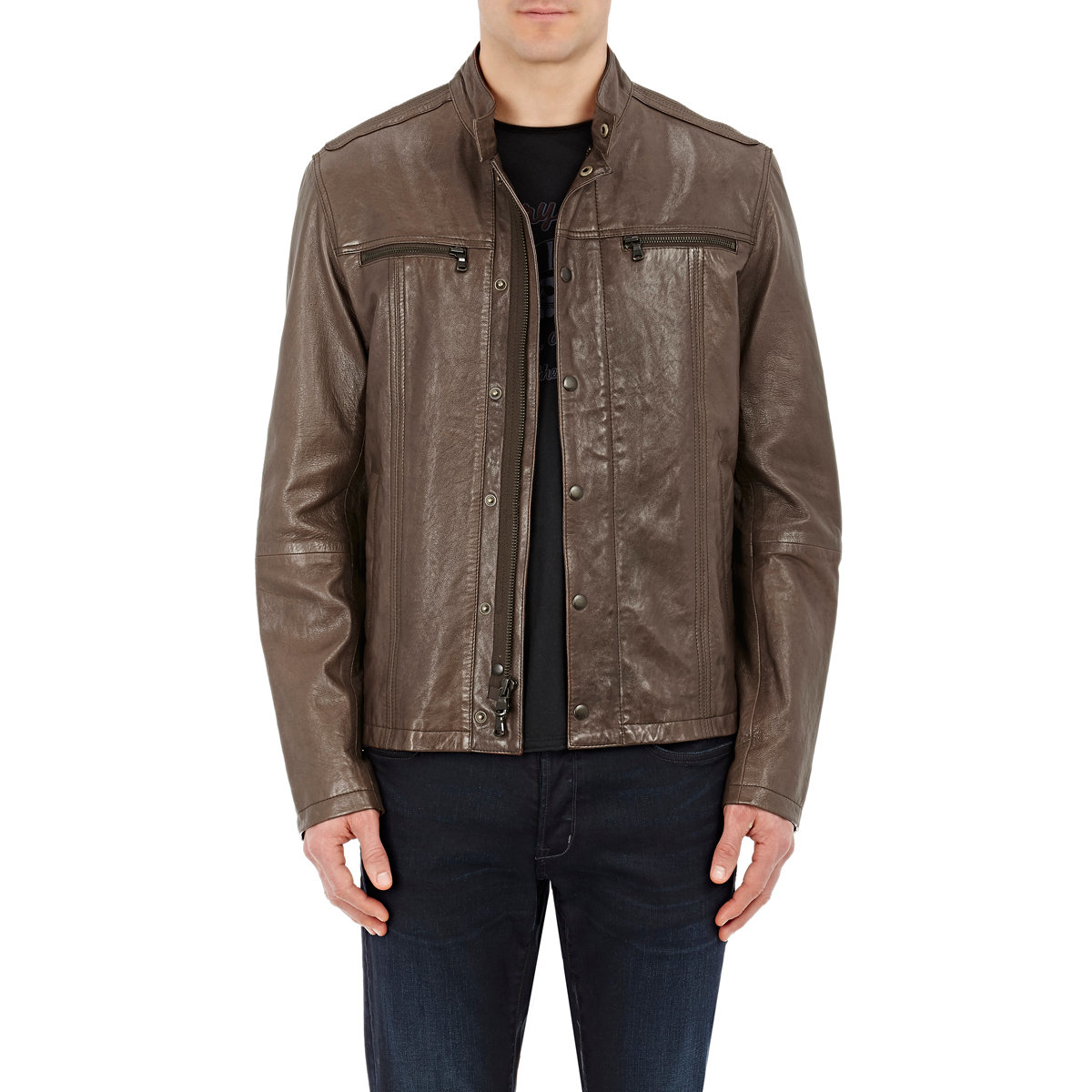 john varvatos leather cafe racer jacket in brown | lyst