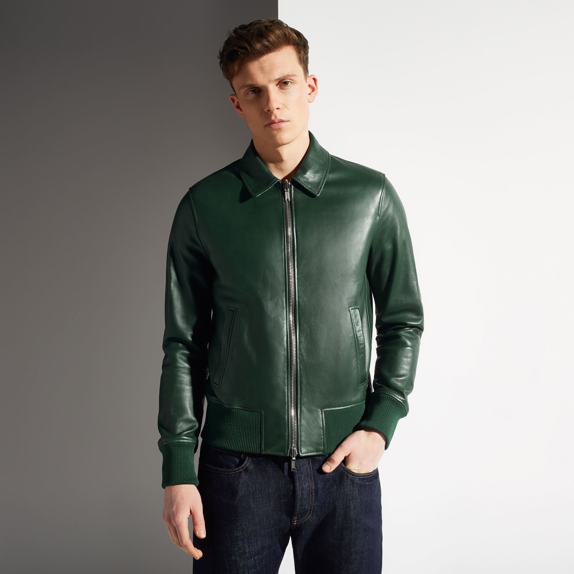 Lyst Bally Reversible Leather Jacket In Green For Men