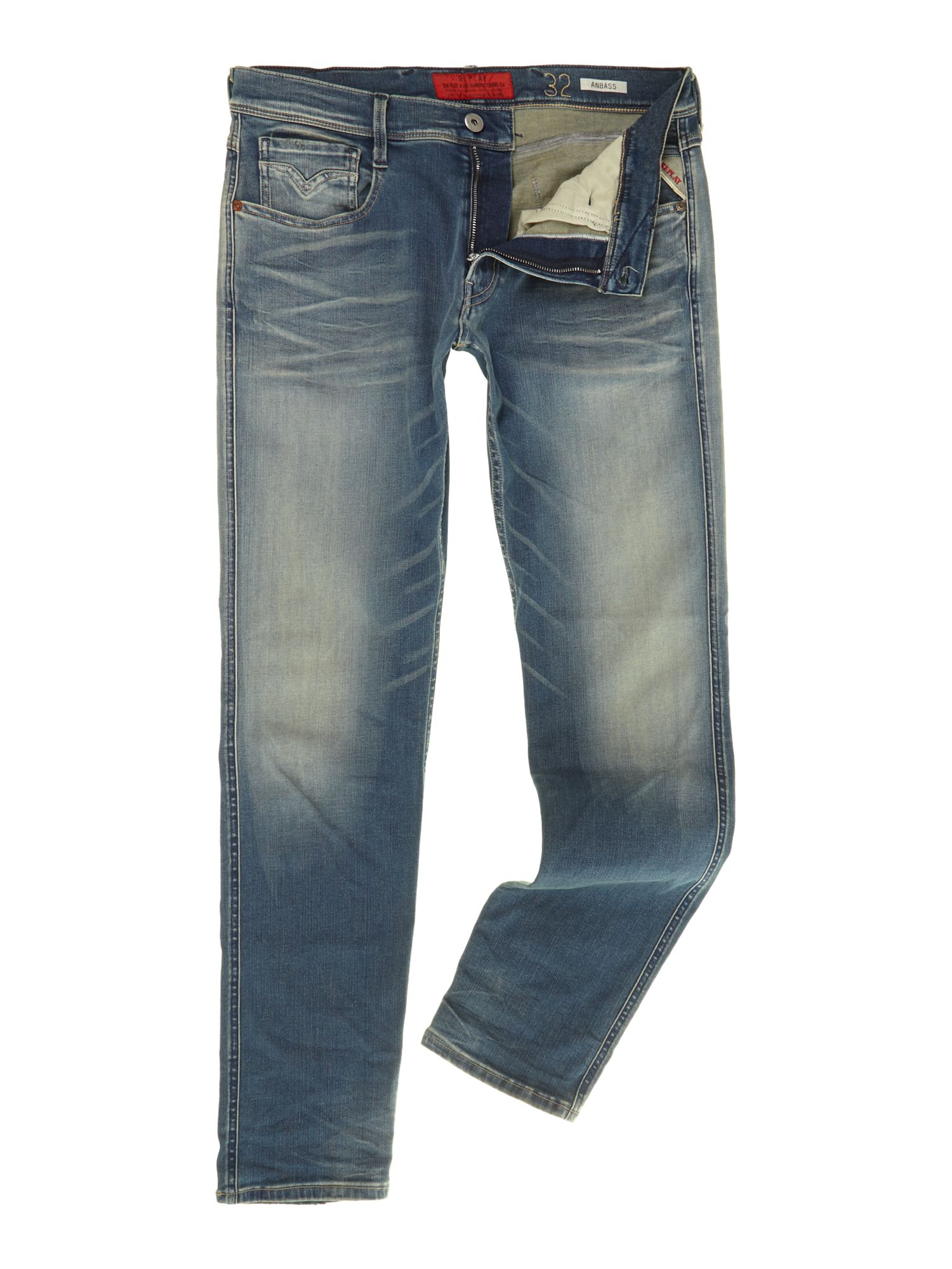 replay anbass hyperflex slim fit jeans in blue for men lyst. Black Bedroom Furniture Sets. Home Design Ideas