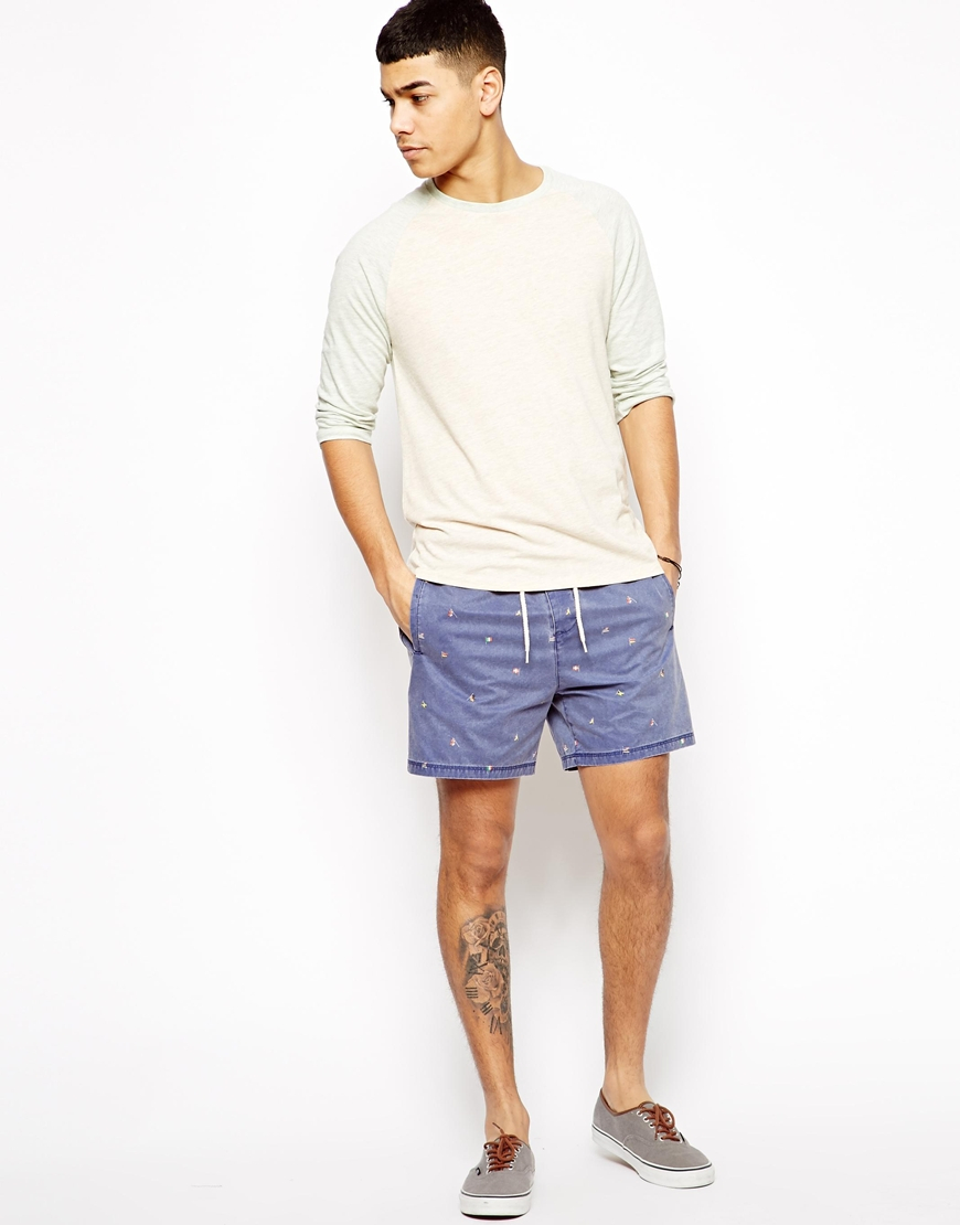 Asos Chino Shorts with Elasticated Waist in Blue for Men | Lyst