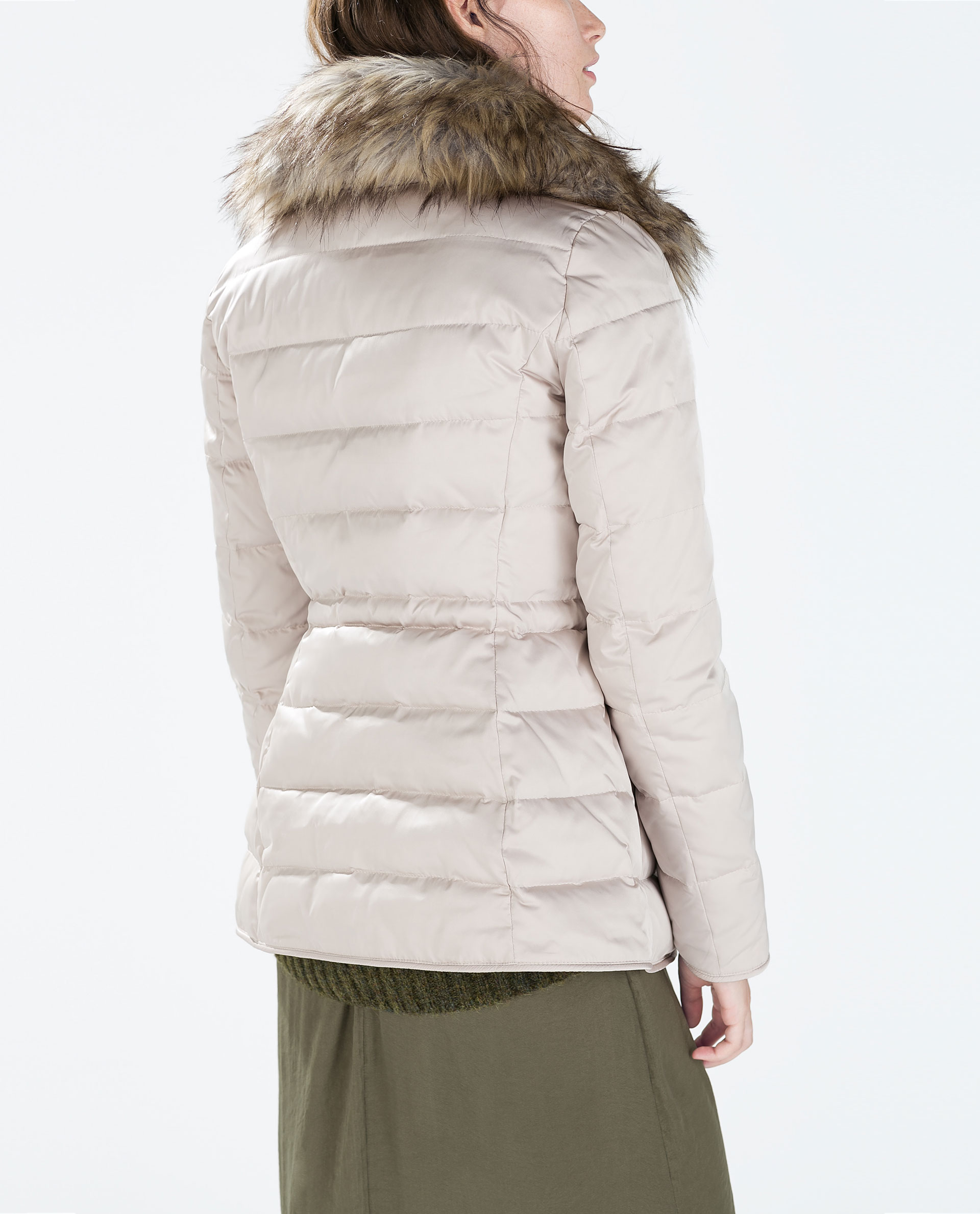 Zara Fitted Down Jacket With Fur Collar in White | Lyst