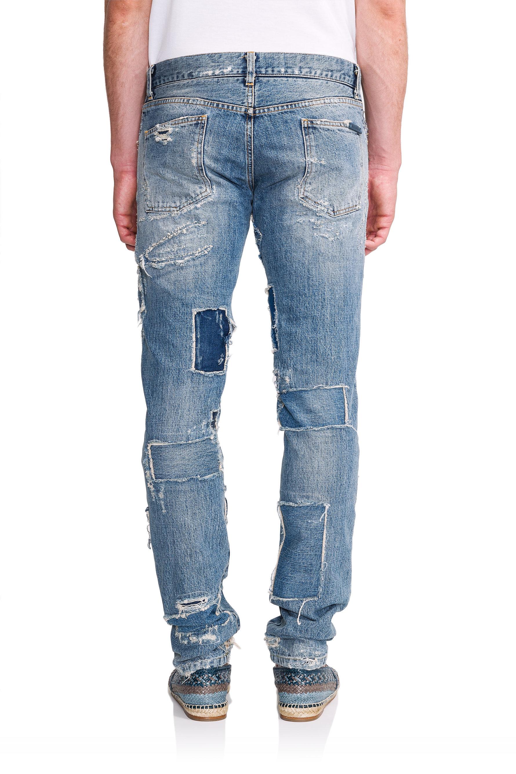 dolce gabbana destroyed 14 gold fit jeans in blue for. Black Bedroom Furniture Sets. Home Design Ideas