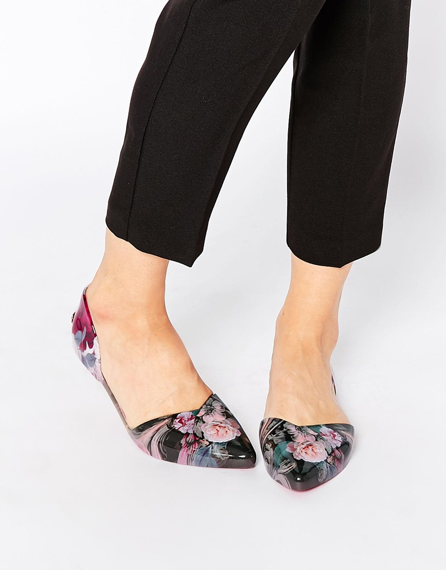 c323f1d76 Ted Baker Rikyu Floral Print Dorsay Ballet Flat Shoes - Lyst