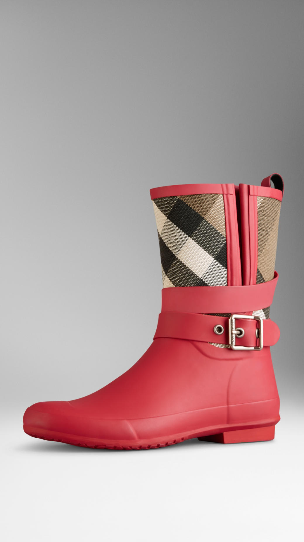 2dc7fdcf5fe2 Lyst - Burberry Belted Check Rain Boots in Pink
