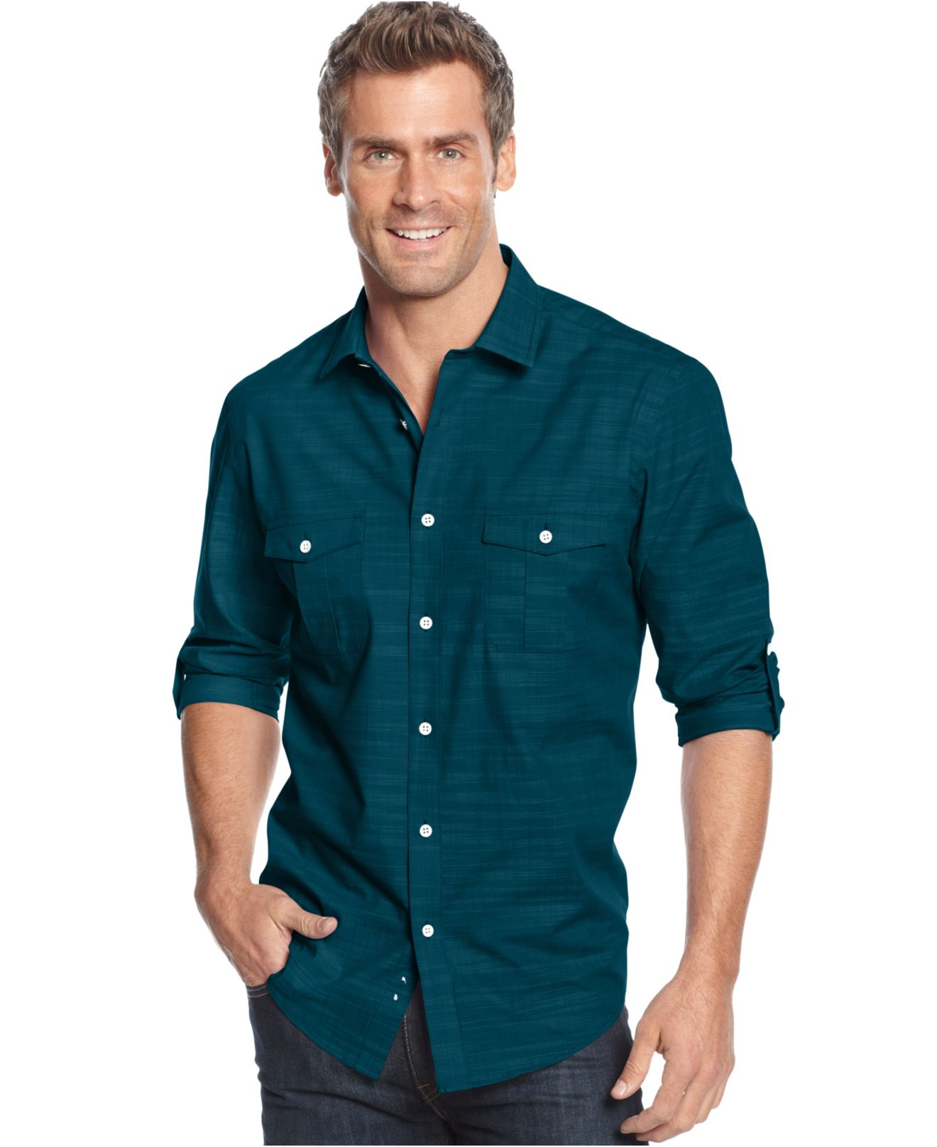 Alfani men 39 s big and tall long sleeve warren shirt in blue for Big and tall long sleeve shirts