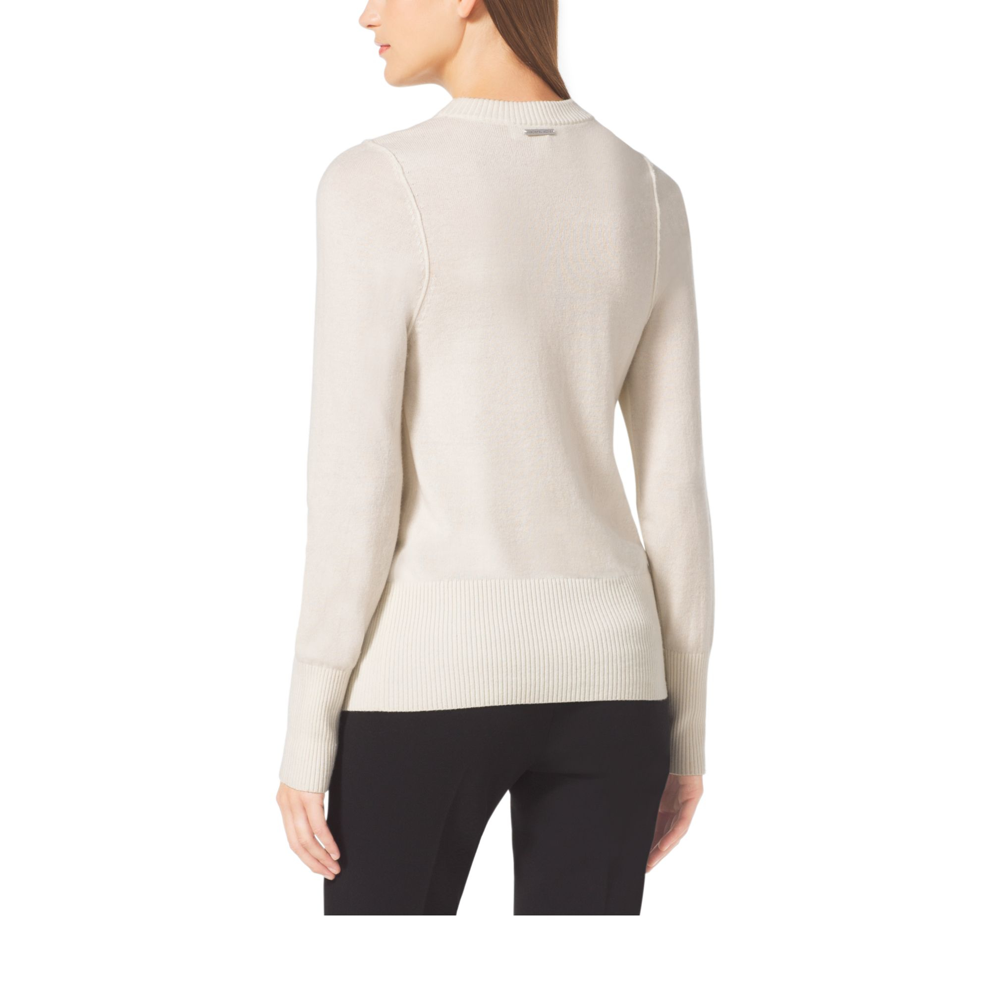 3de007ca141d Michael Kors Merino Wool And Cashmere Sweater in Natural - Lyst