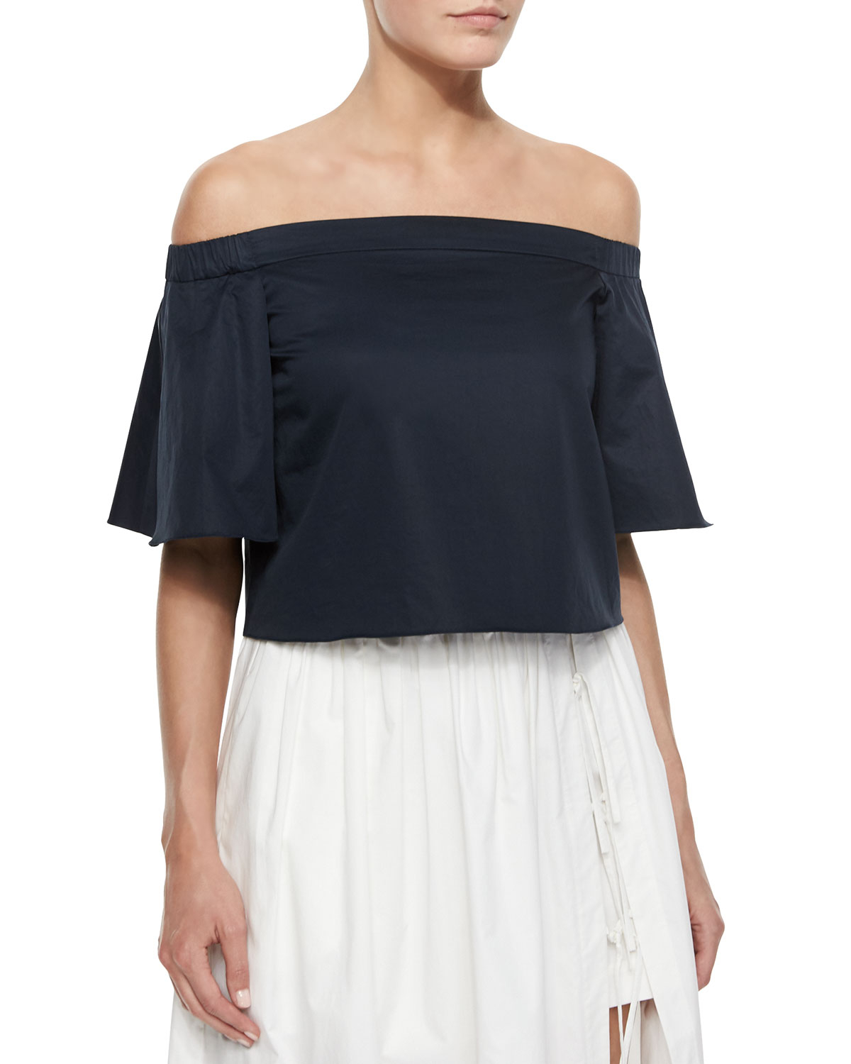 4d2cc6f8dc2736 Lyst - Tibi Satin Off-the-shoulder Top in Black