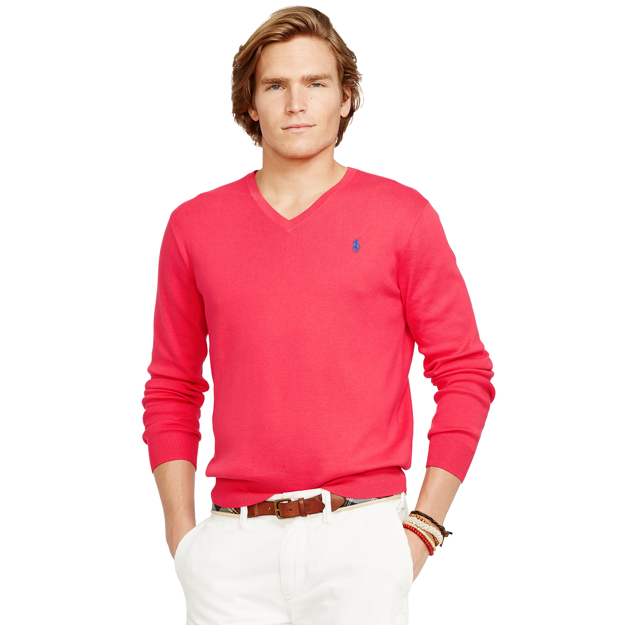 ae2aac307bf7 Polo Ralph Lauren Pima Cotton V-Neck Sweater in Purple - Lyst