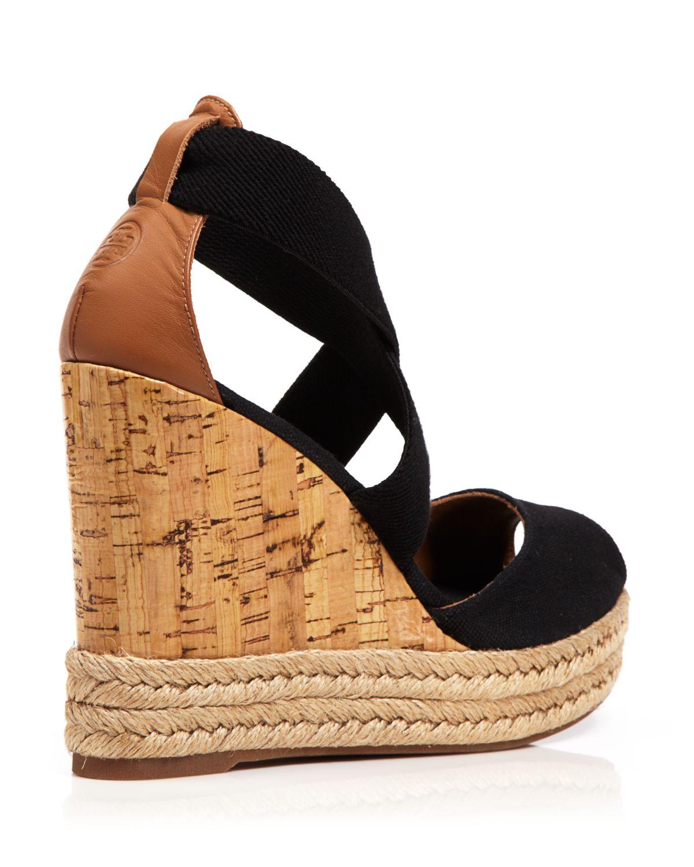 Lyst Tory Burch Peep Toe Canvas Platform Sandals Cork