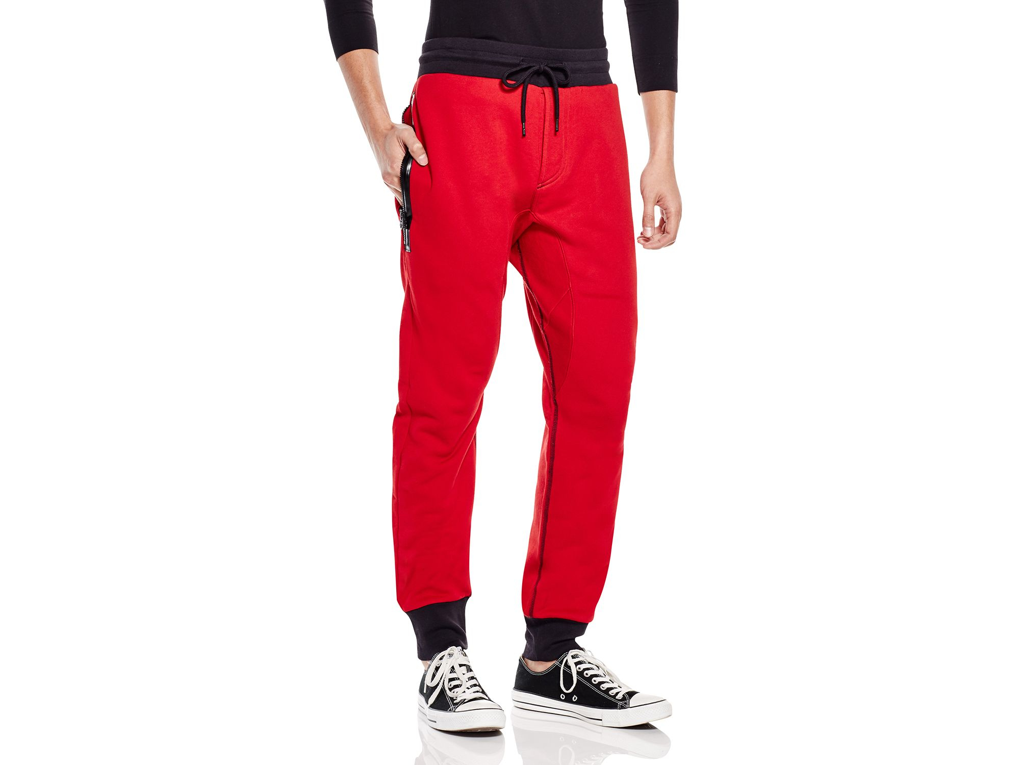 2644eb5146 True Religion Terry Exposed Zip Sweatpants in Red for Men - Lyst