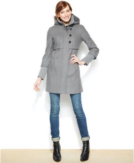 Dkny Hooded Wool Blend Babydoll Coat In Gray Pale Grey