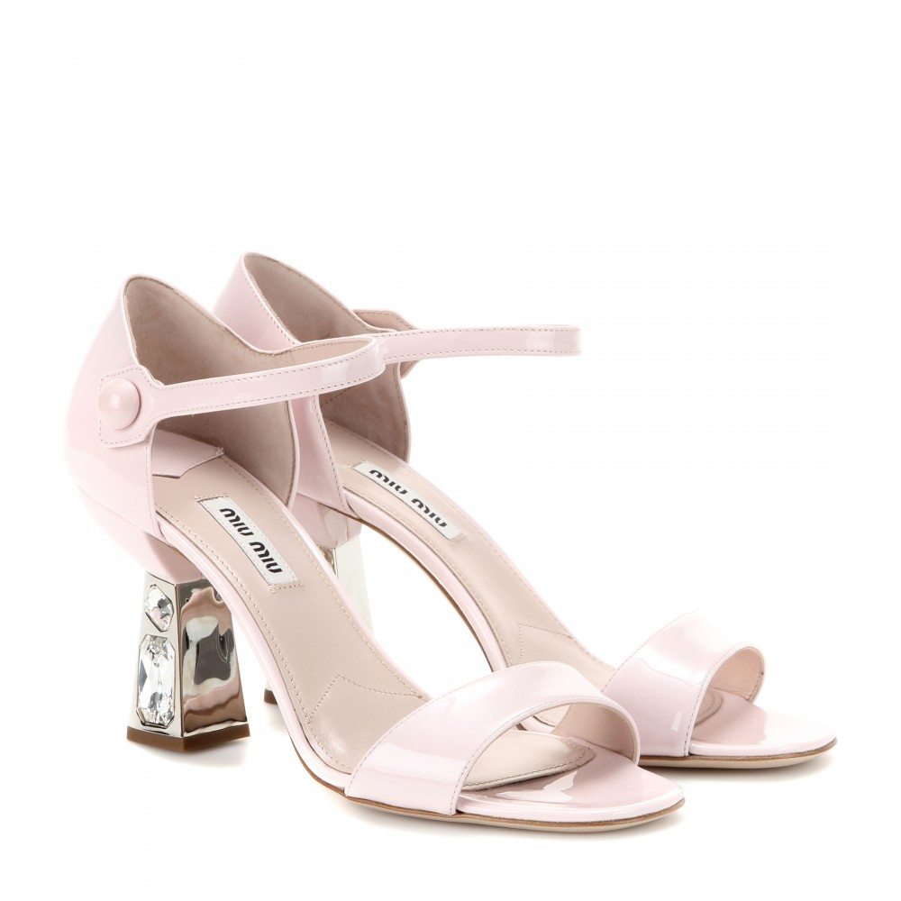 wholesale online Miu Miu Embellished Patent Leather Sandals cheap real eastbay brand new unisex online free shipping sast 32UKYgrE