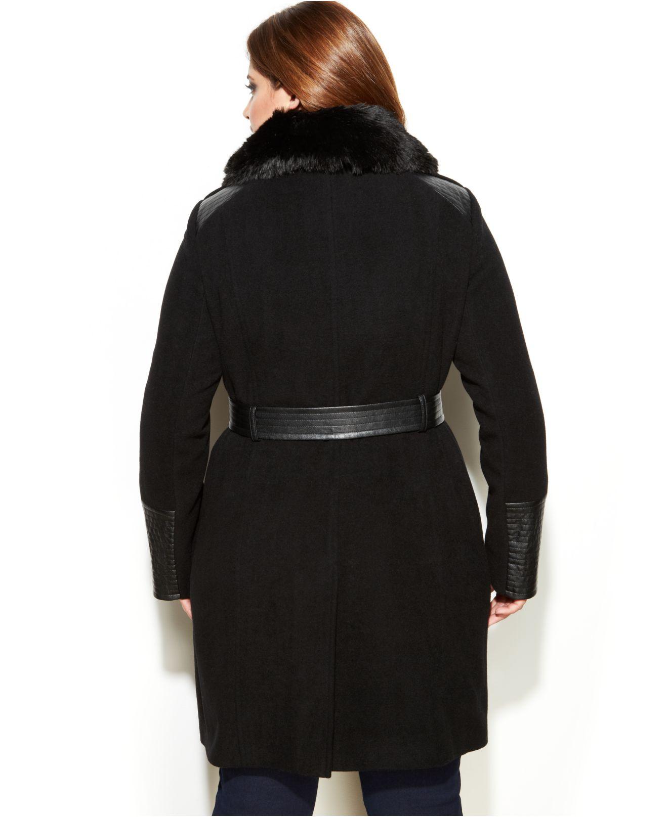 66ca263cb74 Lyst - Via Spiga Plus Size Mixed Media Faux-Fur-Trim Belted Wool ...