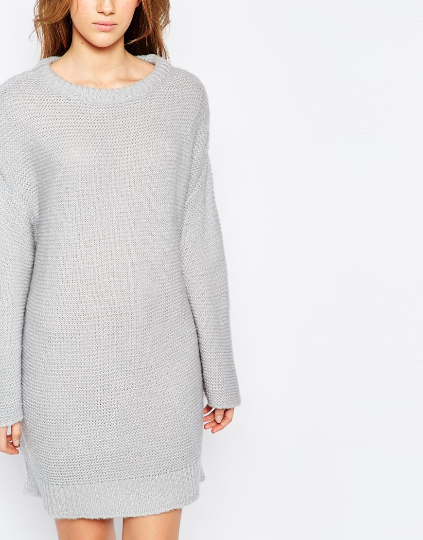 c054354a99d ASOS Oversized Jumper Dress In Chunky Knit in Gray - Lyst