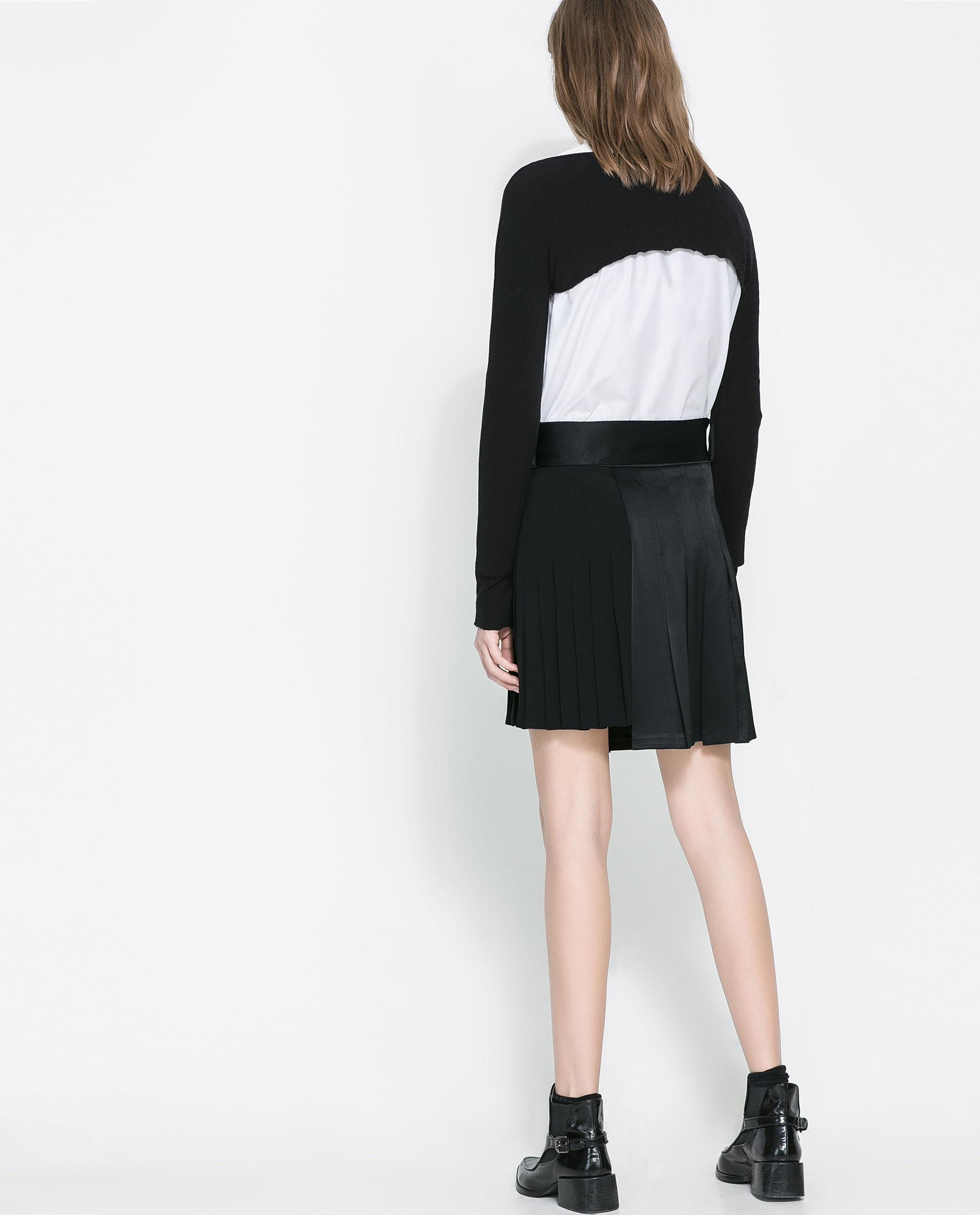 zara combined pleated skirt in black lyst
