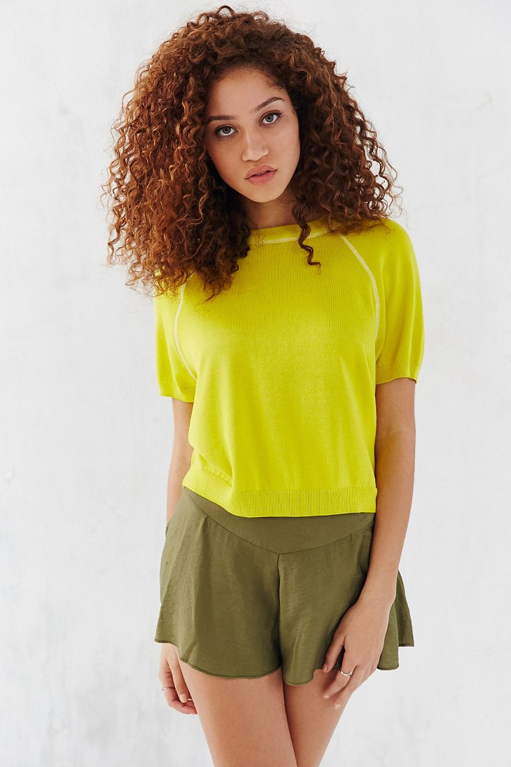 Bdg Short Sleeve Raglan Sweater in Yellow | Lyst