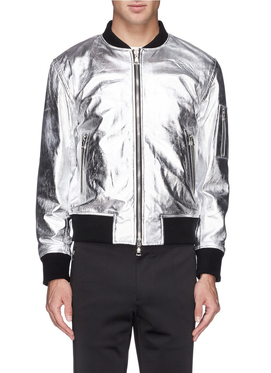 Lyst Ovadia And Sons Metallic Leather Bomber Jacket In
