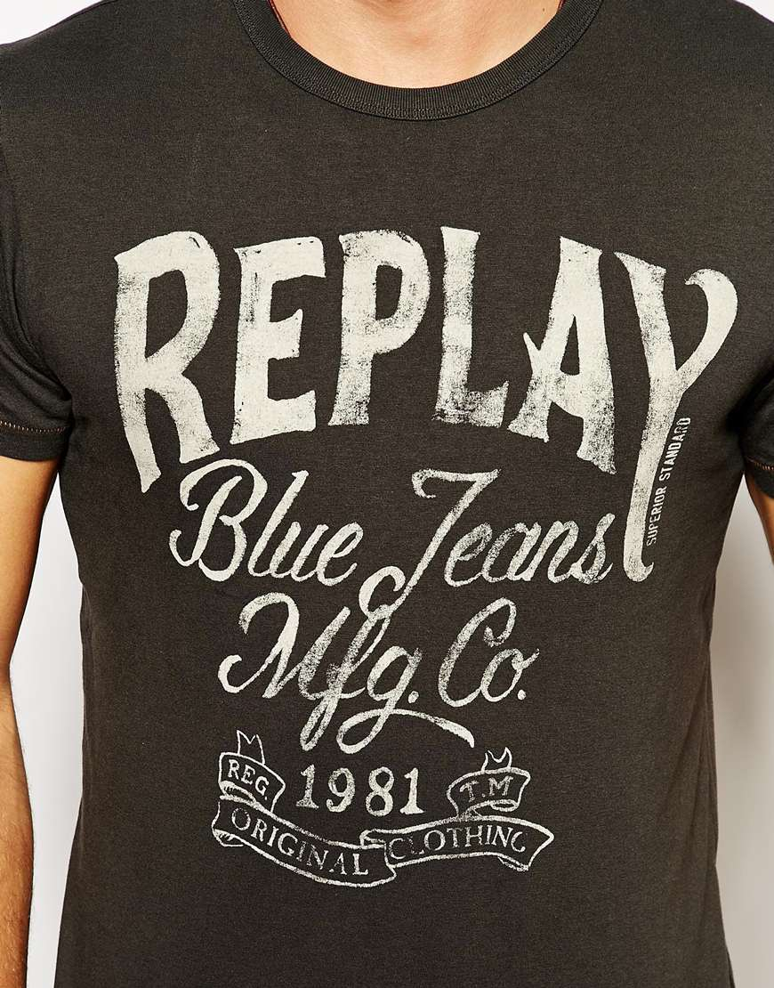 replay t shirt blue jeans logo print in black for men lyst. Black Bedroom Furniture Sets. Home Design Ideas