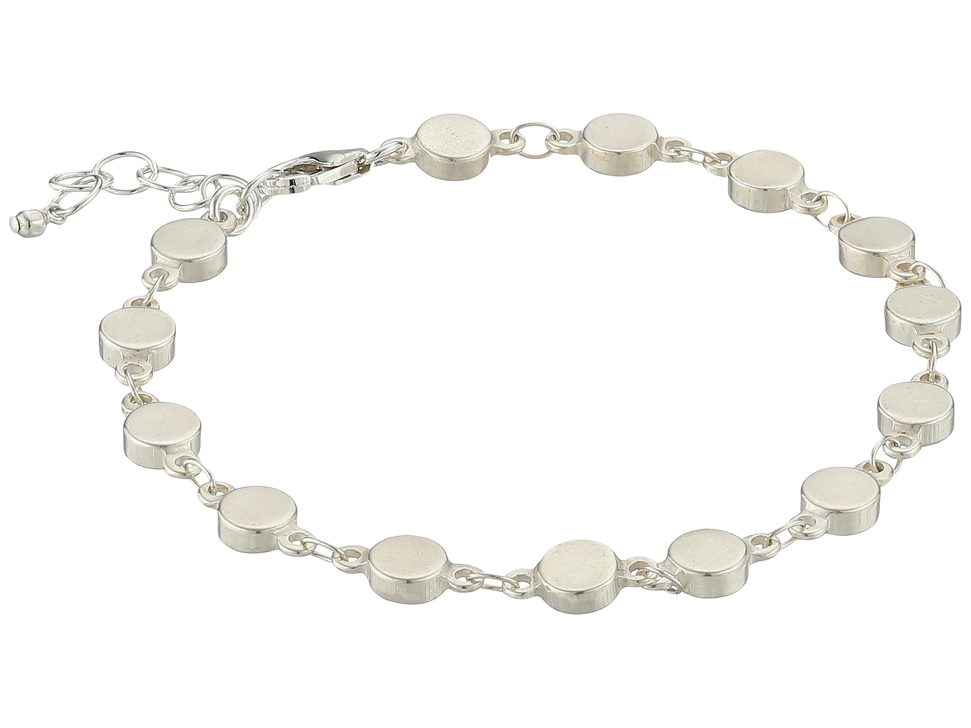 dogeared centered multi linked circle bracelet in metallic