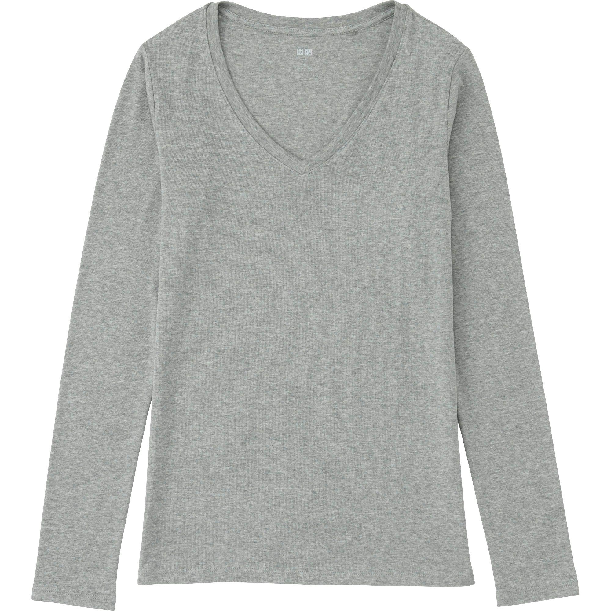 78684f61f8 Lyst - Uniqlo Women Supima Cotton Modal V-neck Long Sleeve T-shirt ...