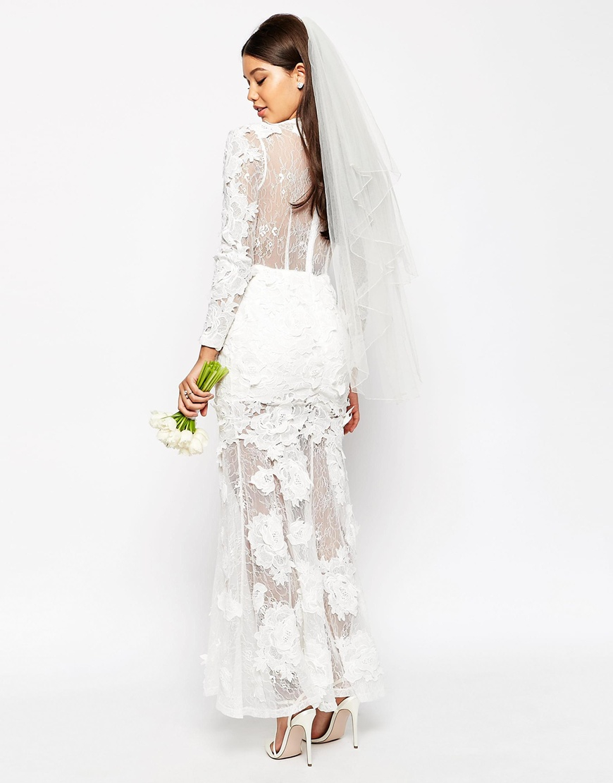 Asos bridal lace 3d floral fishtail maxi dress in white lyst for White fishtail wedding dress