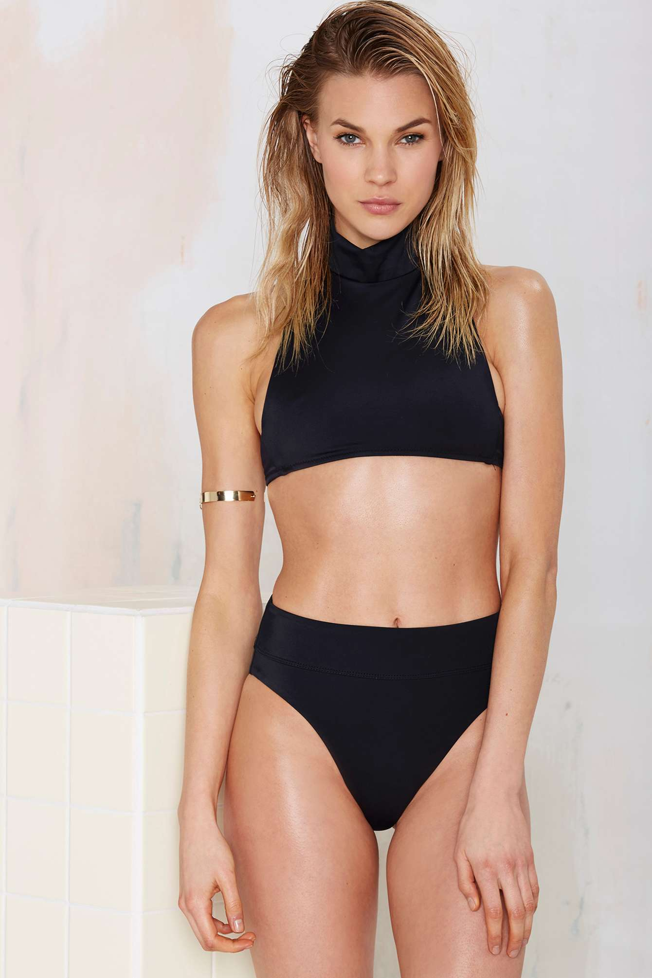Lyst - Nasty Gal Deep Water High-waisted Bikini Bottom in ...