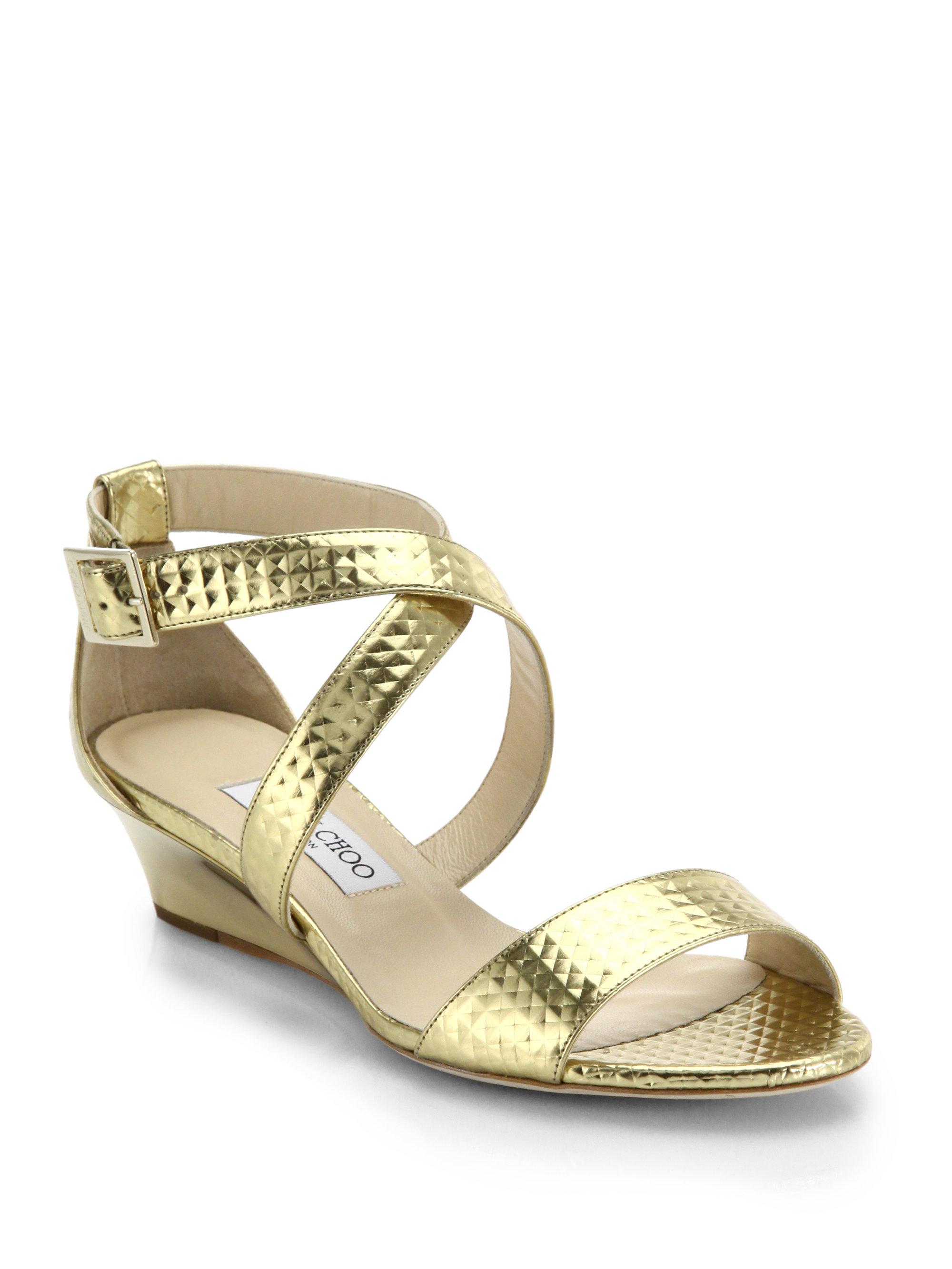 lyst jimmy choo chiara metallic leather wedge sandals in