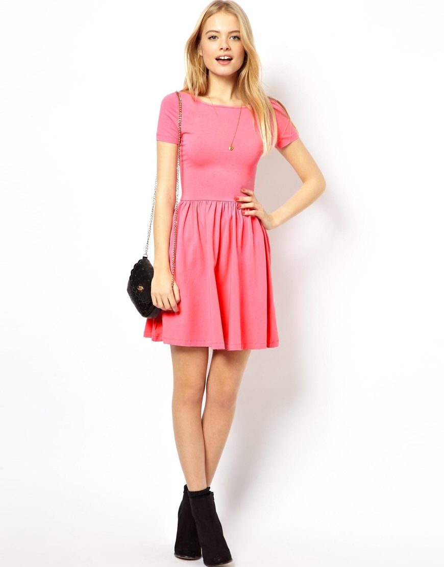 4cdf2733d8bf ASOS Skater Dress With Slash Neck And Short Sleeves in Pink - Lyst