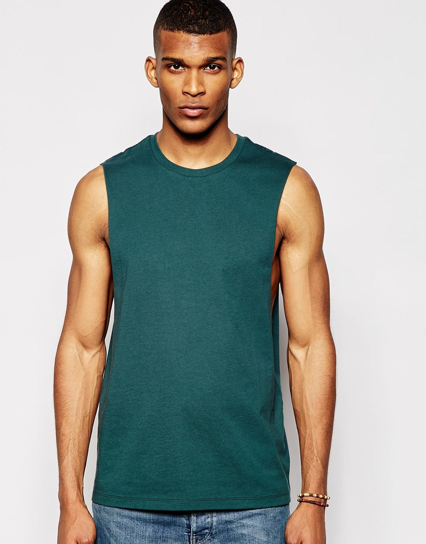 Asos sleeveless t shirt with dropped armhole in green for for Tall sleeveless t shirts