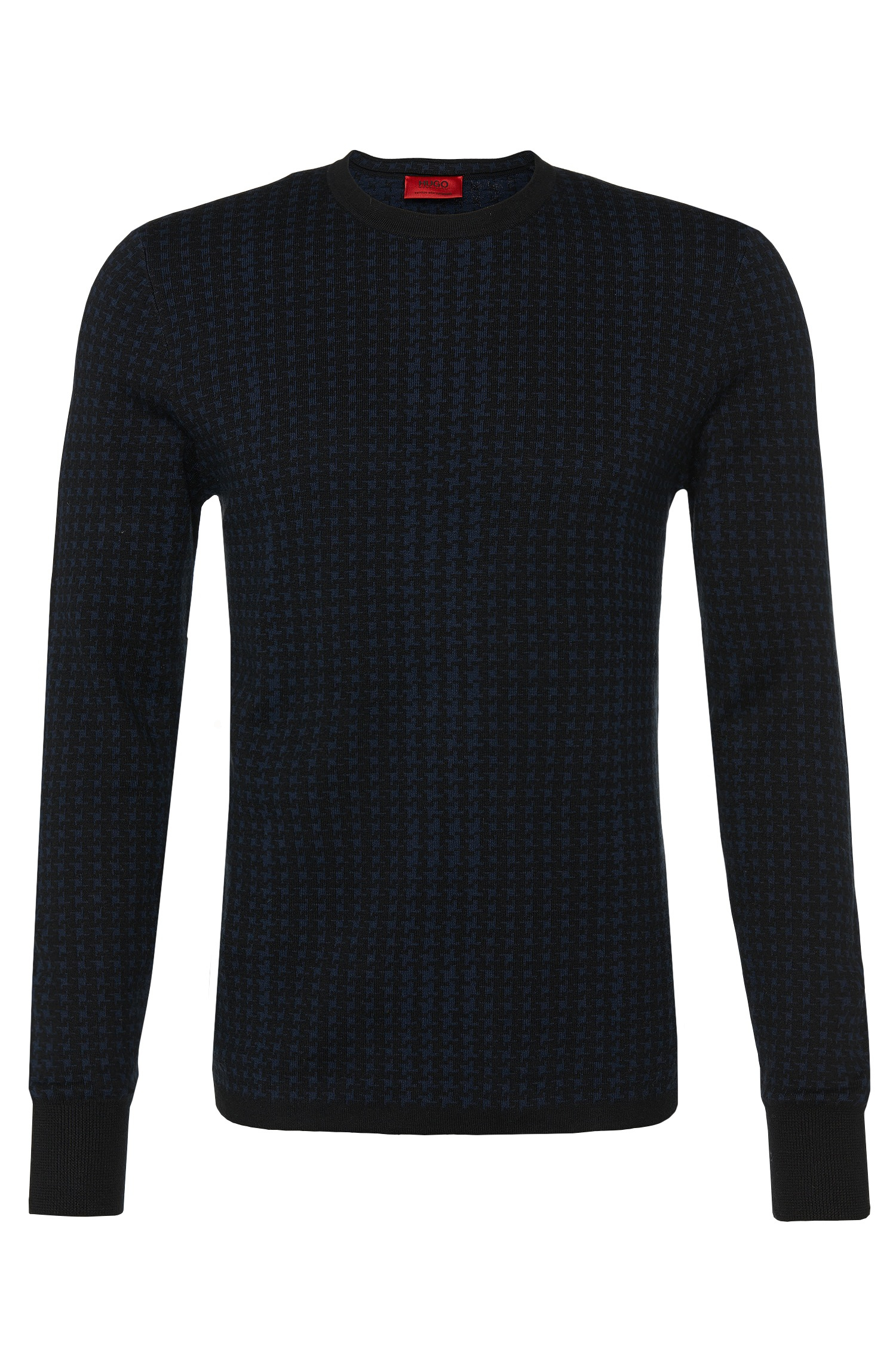 Hugo 'shainor' | Cotton Silk Cashmere Houndstooth Sweater in Blue ...