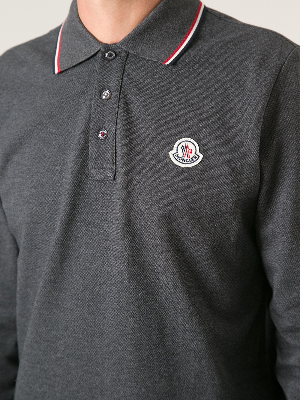 Men Lyst Shirt Long Sleeved Moncler Polo Gray For In 70qwTW84